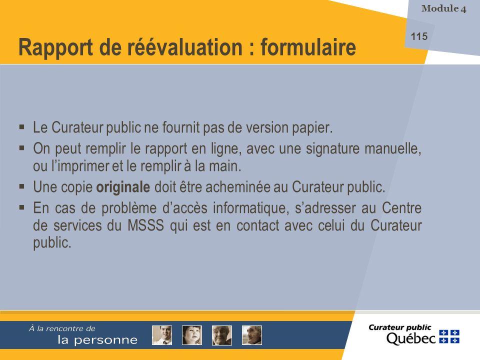 Rapport de réévaluation : formulaire