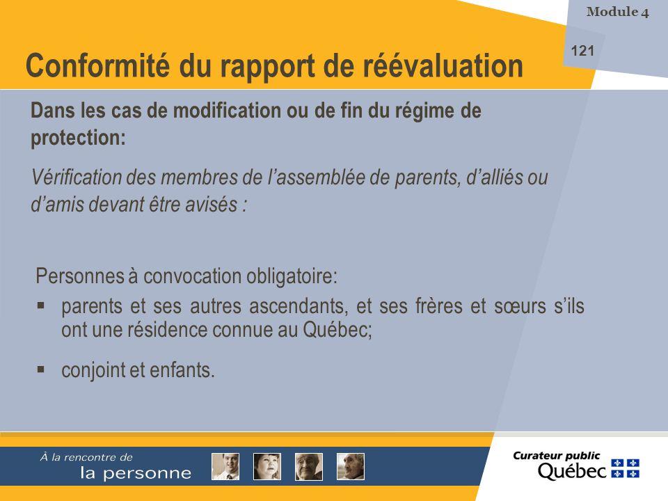 Conformité du rapport de réévaluation