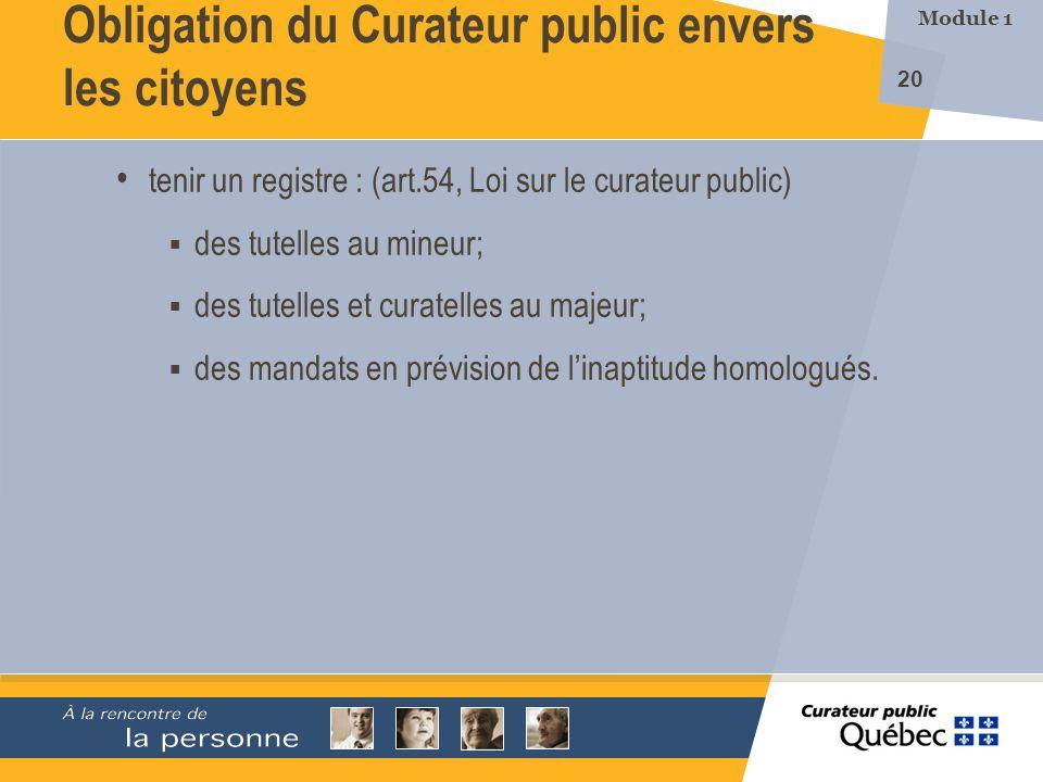 Obligation du Curateur public envers les citoyens
