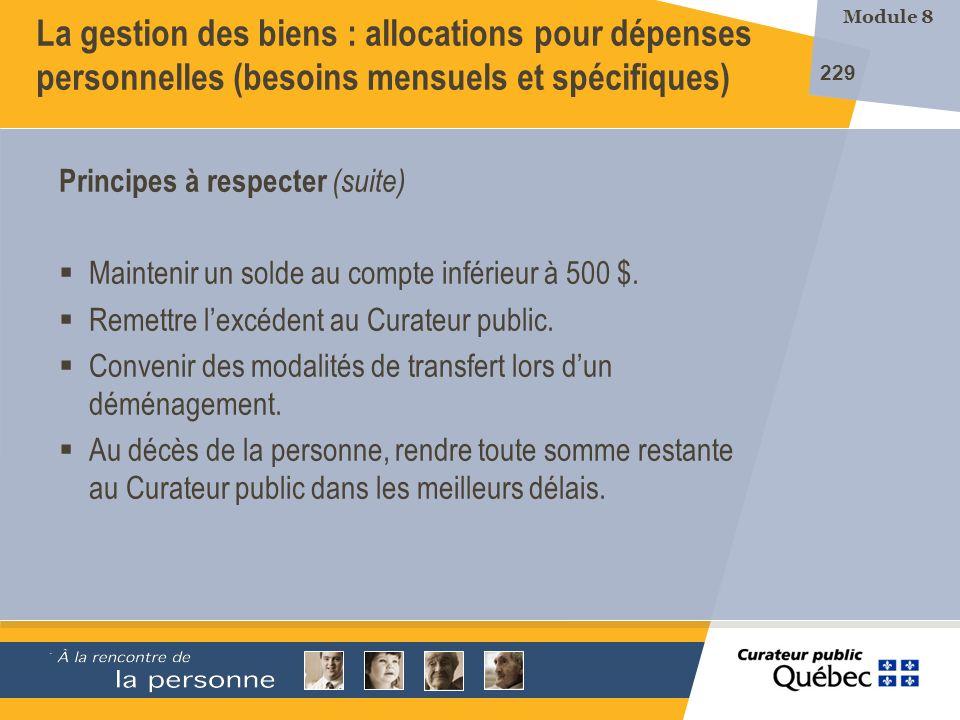 La gestion des biens : allocations pour dépenses personnelles (besoins mensuels et spécifiques)