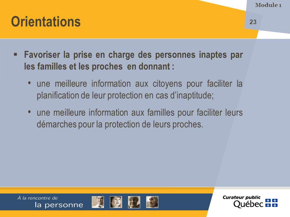 Module 1 Orientations. Favoriser la prise en charge des personnes inaptes par les familles et les proches en donnant :