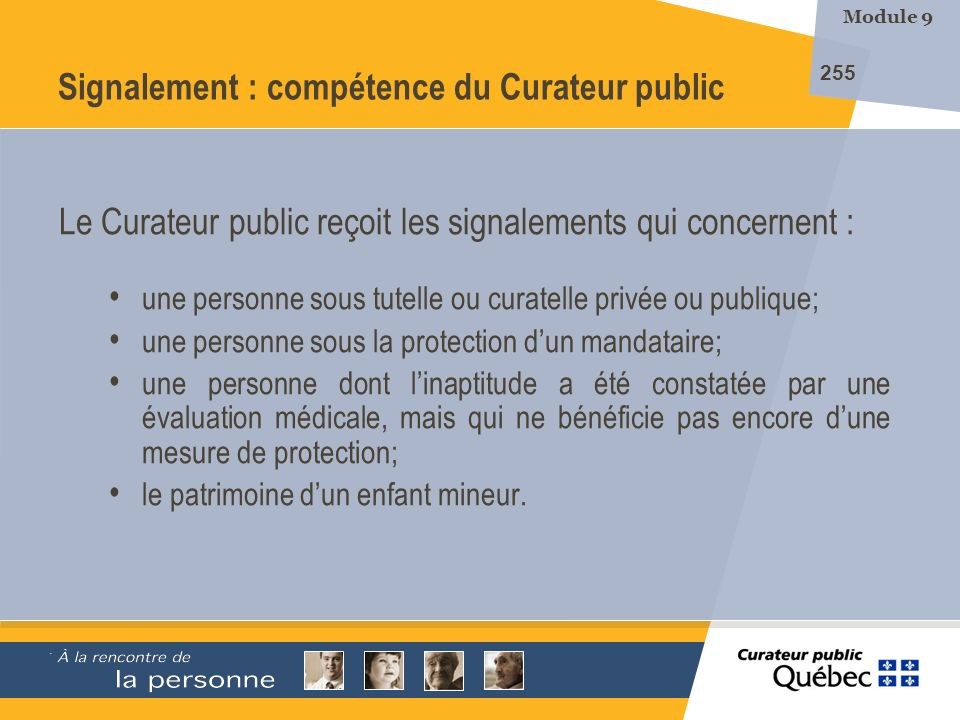 Signalement : compétence du Curateur public