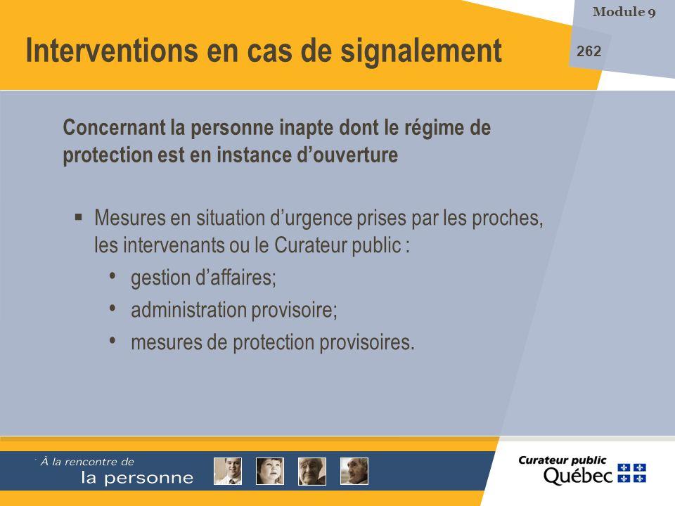 Interventions en cas de signalement