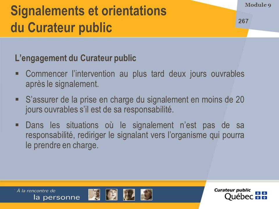 Signalements et orientations du Curateur public