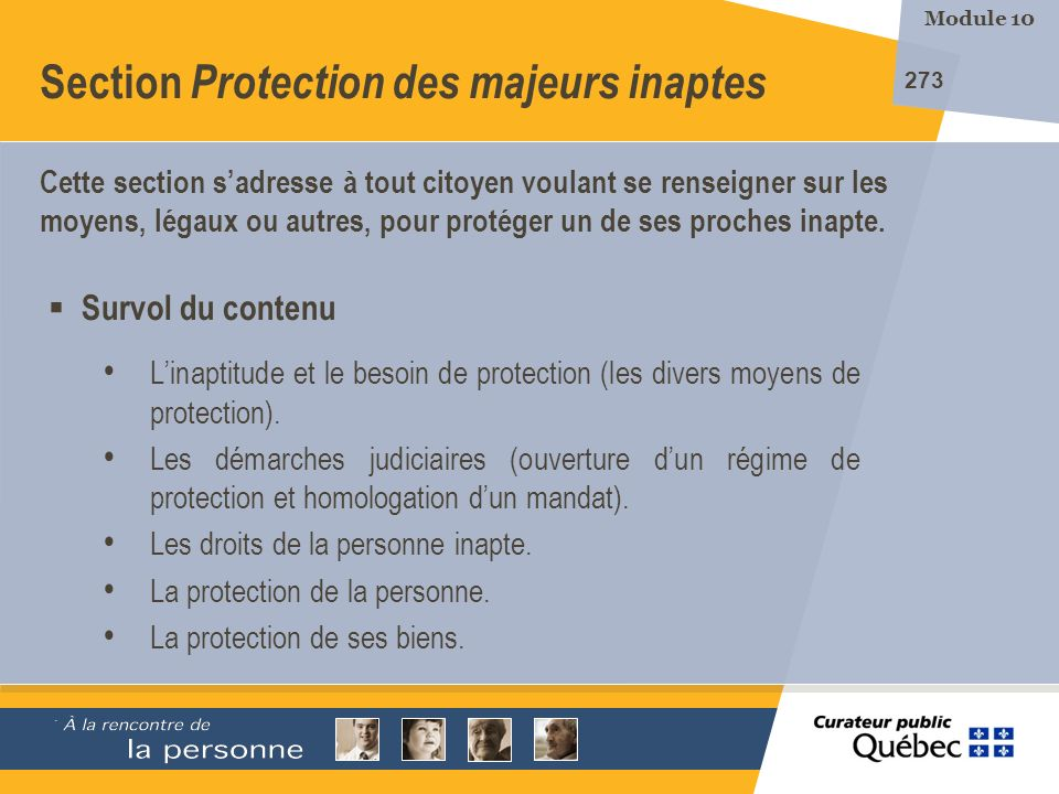 Section Protection des majeurs inaptes