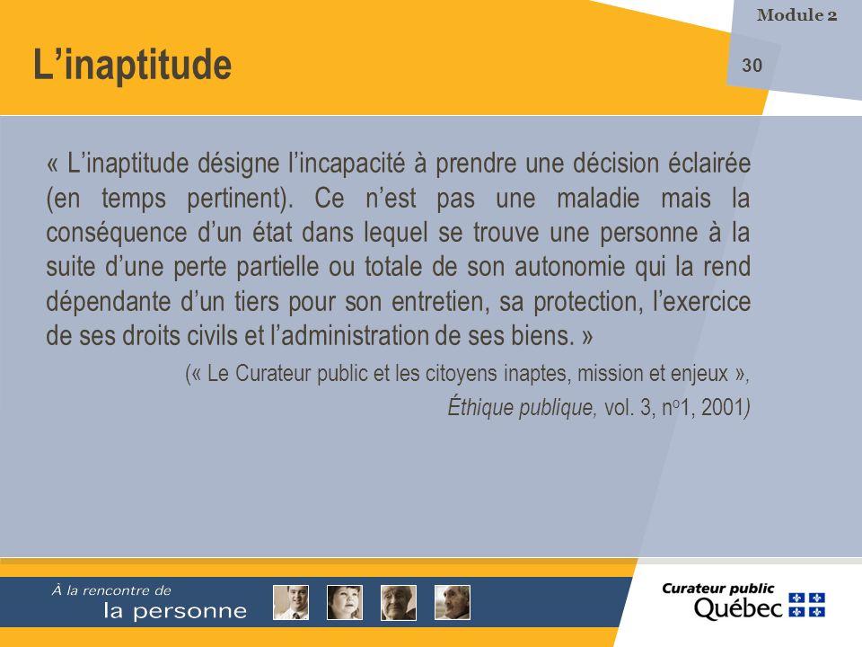 Module 2 L'inaptitude.