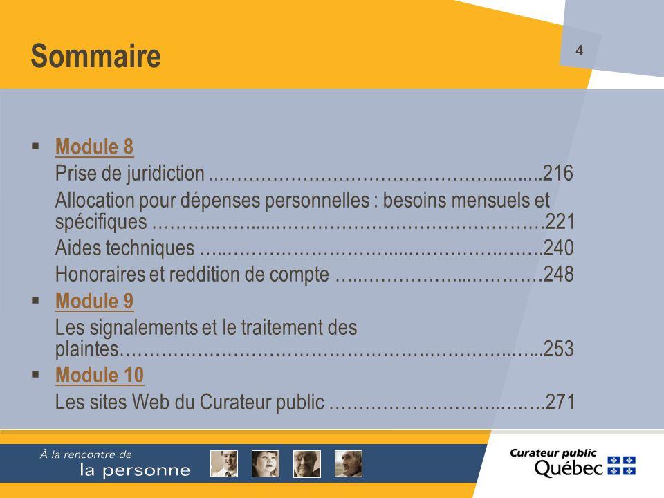 Sommaire Module 8 Prise de juridiction ..………………………………………...........216