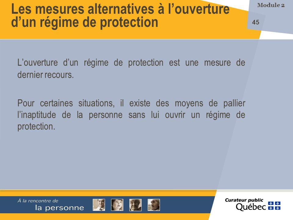 Les mesures alternatives à l'ouverture d'un régime de protection