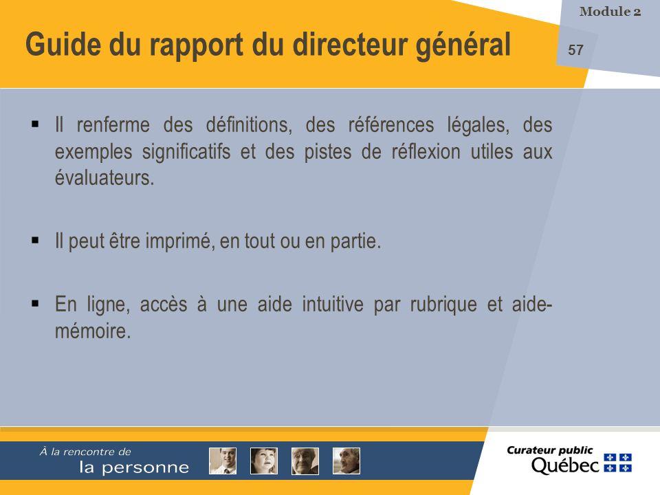 Guide du rapport du directeur général