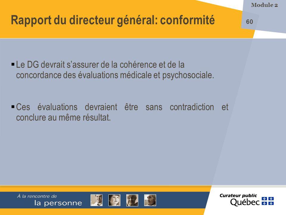 Rapport du directeur général: conformité