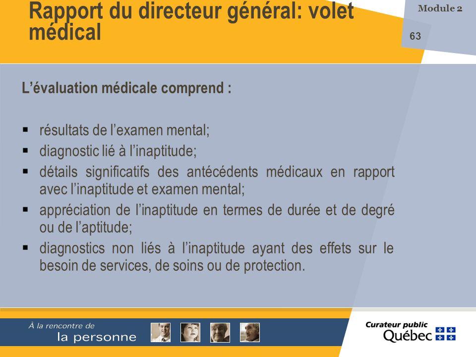Rapport du directeur général: volet médical