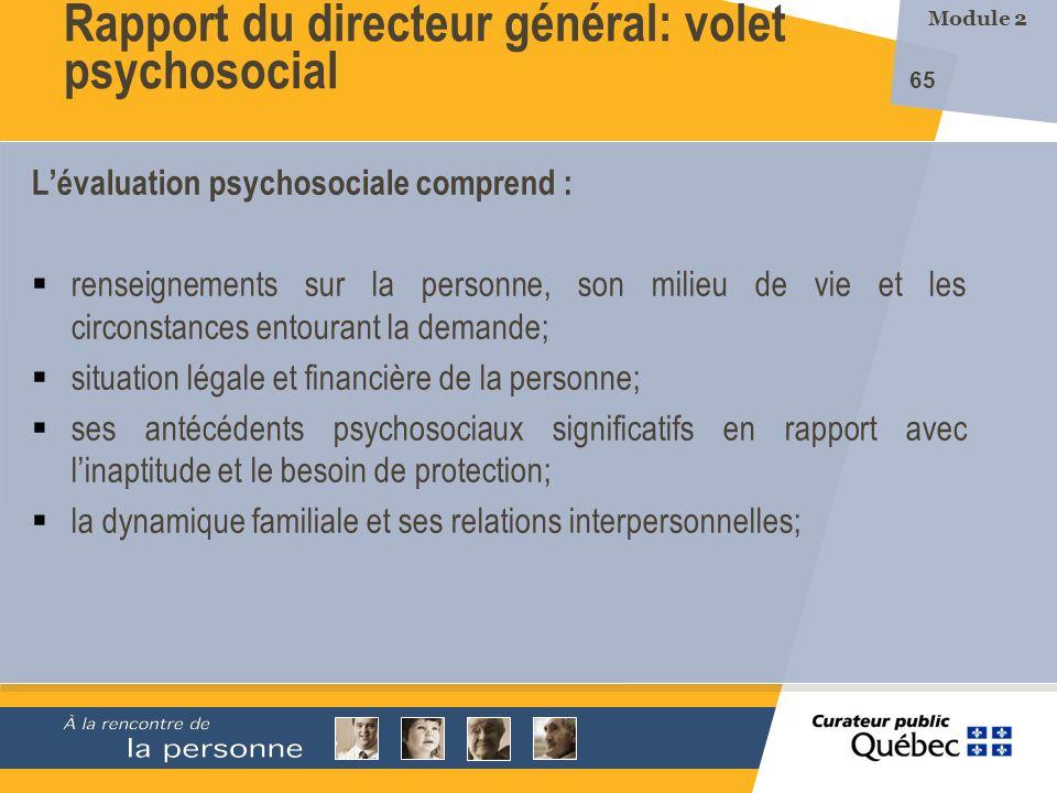Rapport du directeur général: volet psychosocial