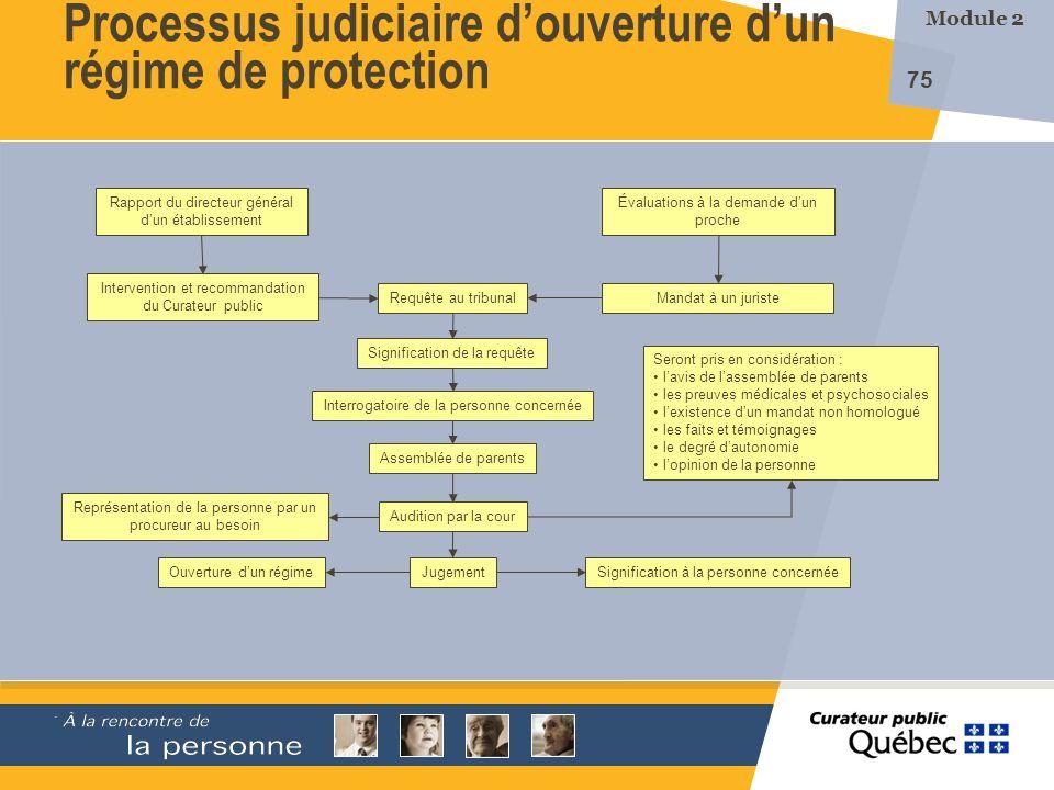 Processus judiciaire d'ouverture d'un régime de protection