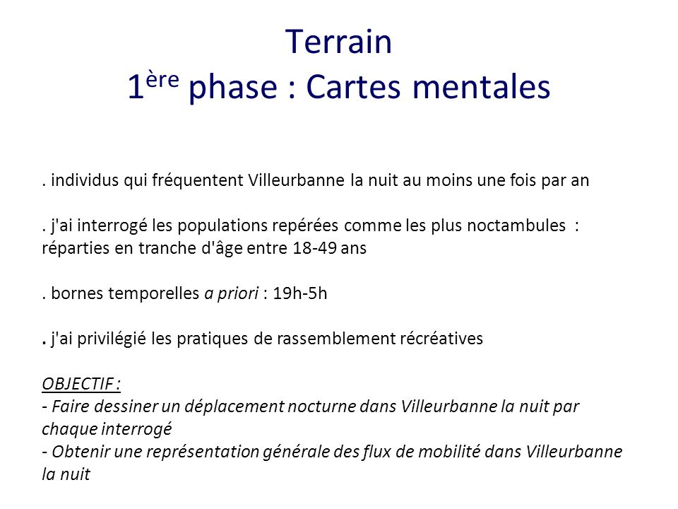 Terrain 1ère phase : Cartes mentales