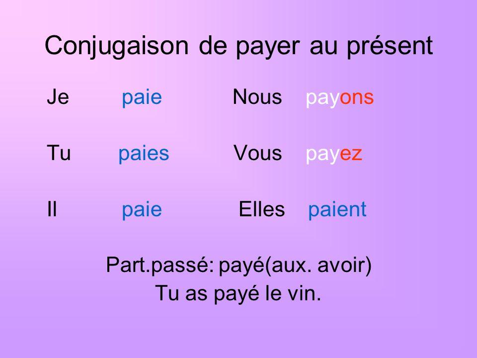 Conjugaison de payer au présent