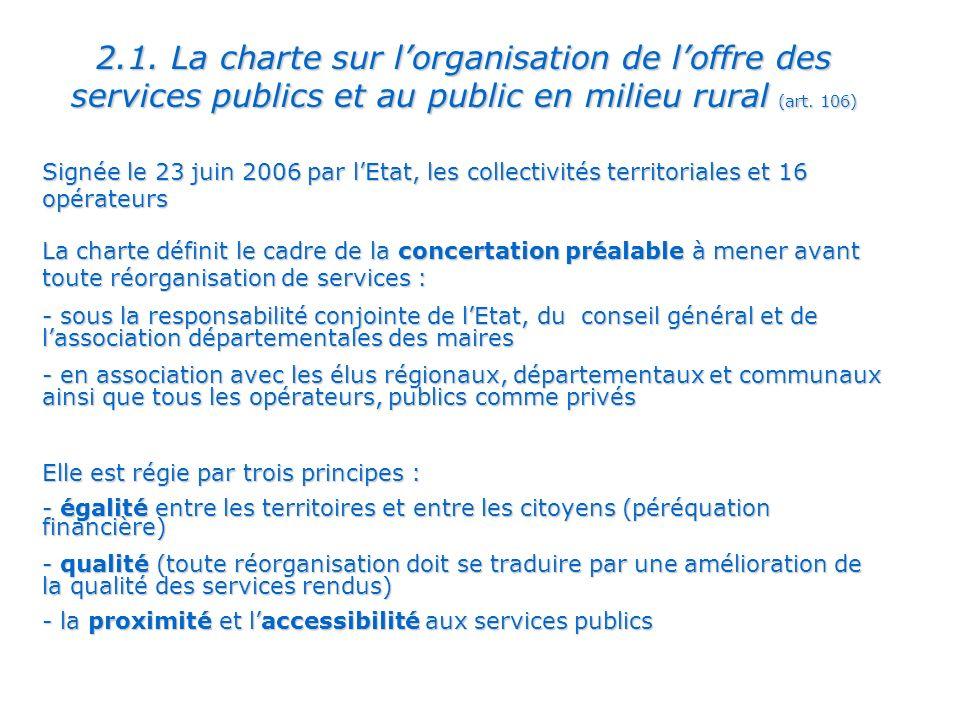 2.1. La charte sur l'organisation de l'offre des services publics et au public en milieu rural (art. 106)