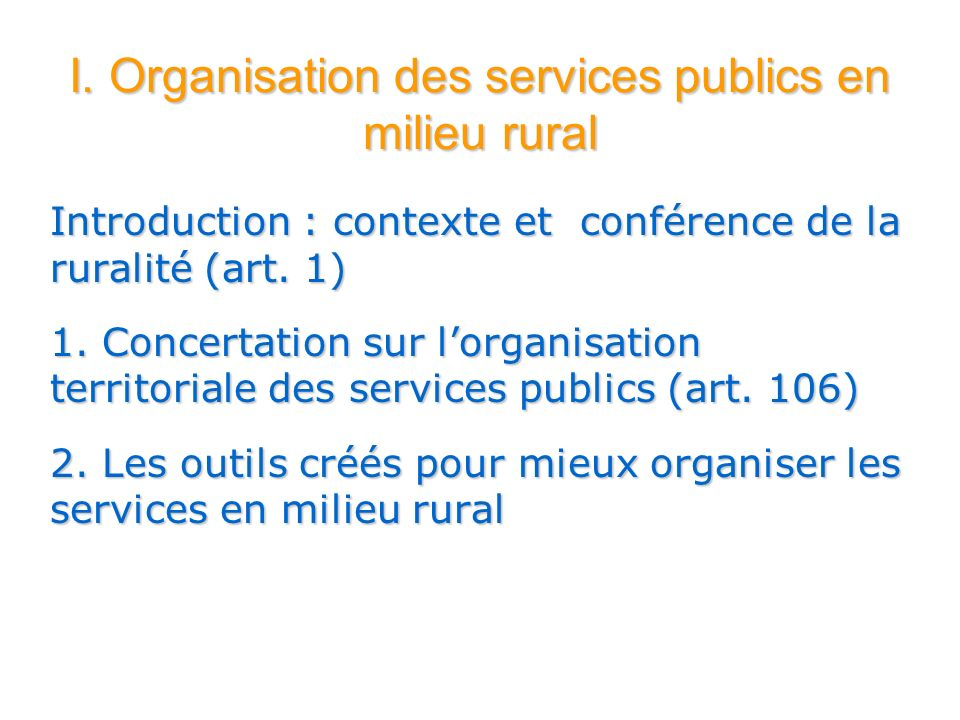 I. Organisation des services publics en milieu rural