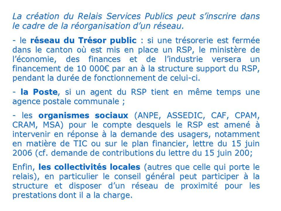 La création du Relais Services Publics peut s'inscrire dans le cadre de la réorganisation d'un réseau.