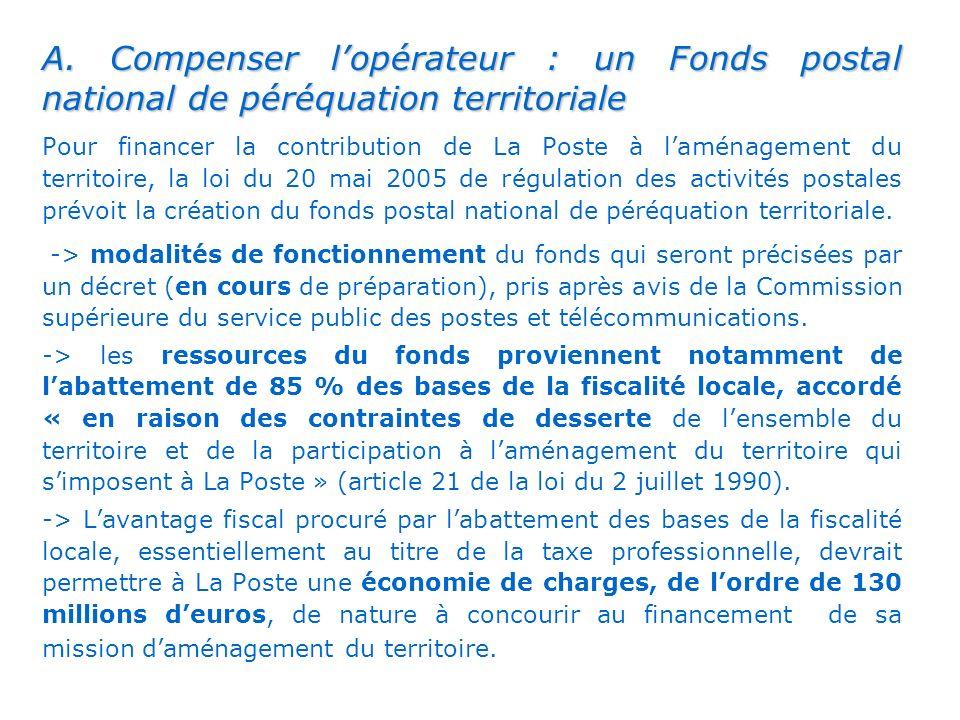 A. Compenser l'opérateur : un Fonds postal national de péréquation territoriale