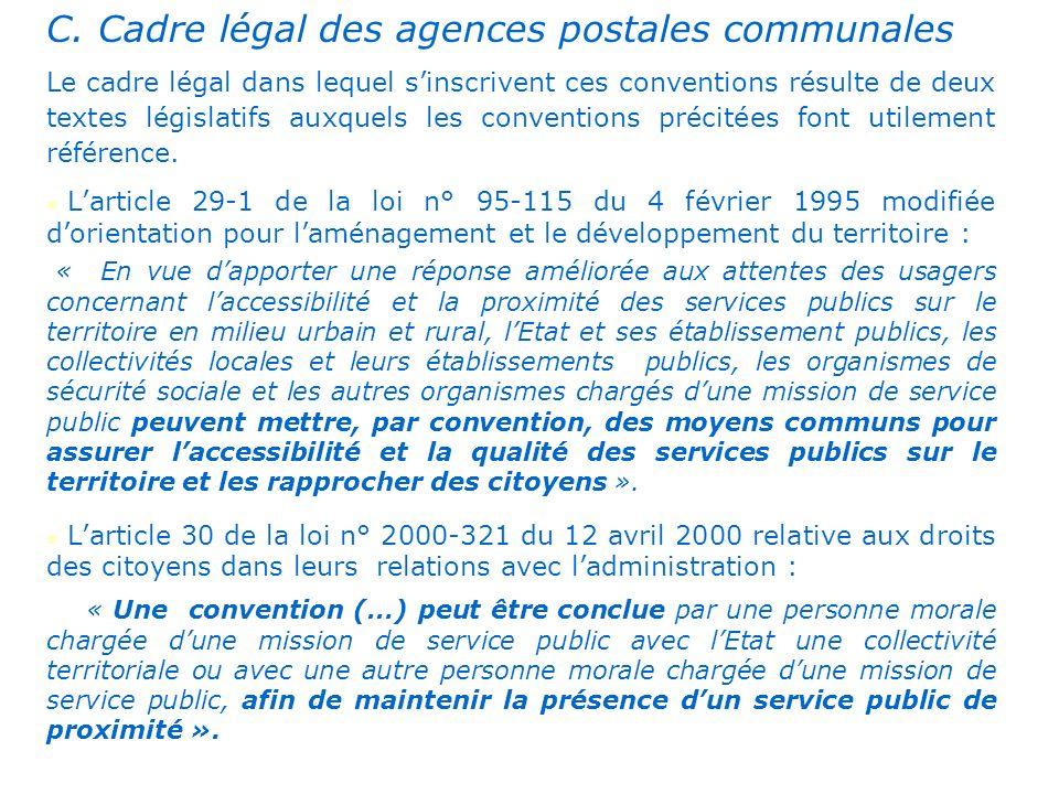 . C. Cadre légal des agences postales communales