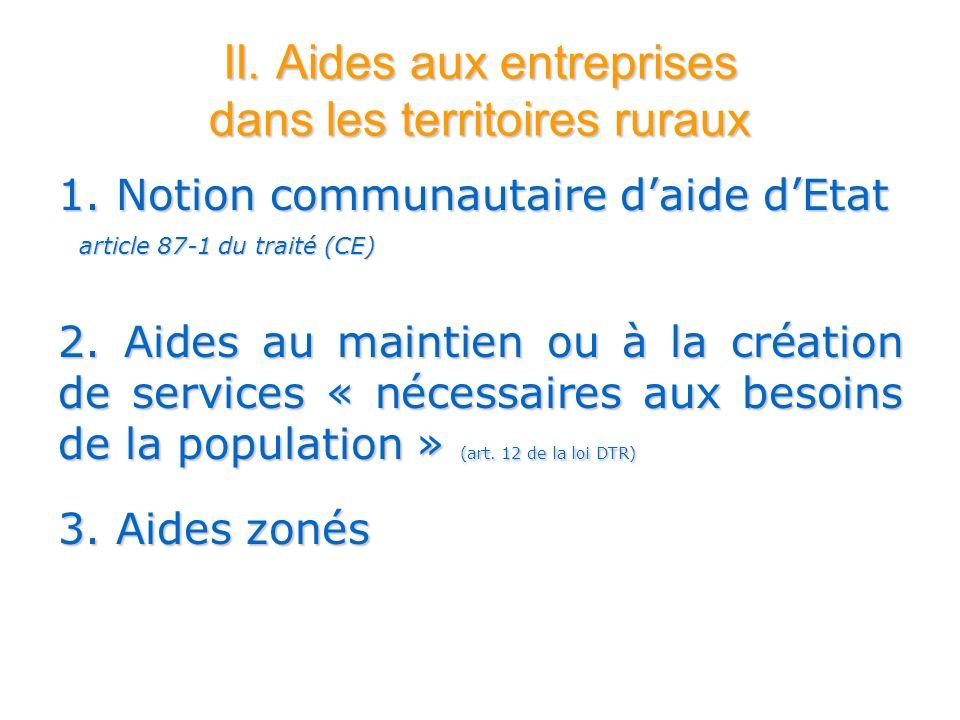 II. Aides aux entreprises dans les territoires ruraux