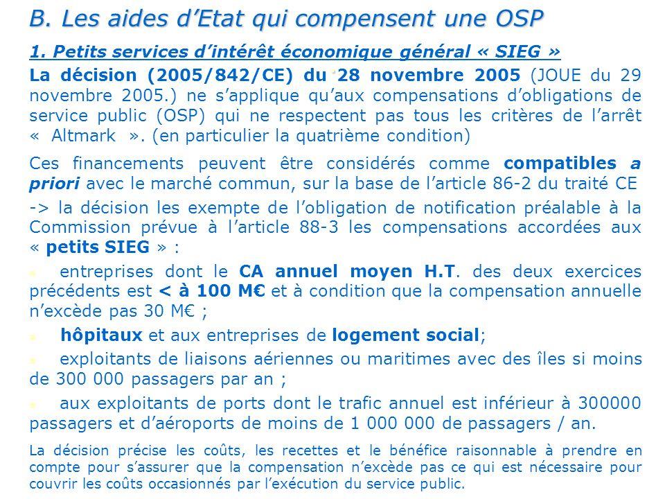 . B. Les aides d'Etat qui compensent une OSP