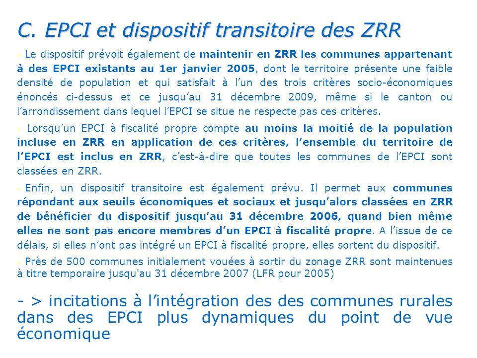 . C. EPCI et dispositif transitoire des ZRR