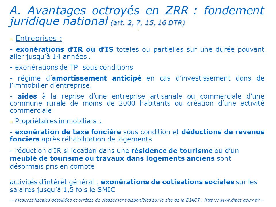 A. Avantages octroyés en ZRR : fondement juridique national (art
