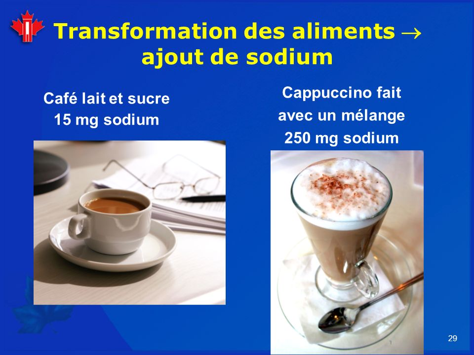 Transformation des aliments  ajout de sodium
