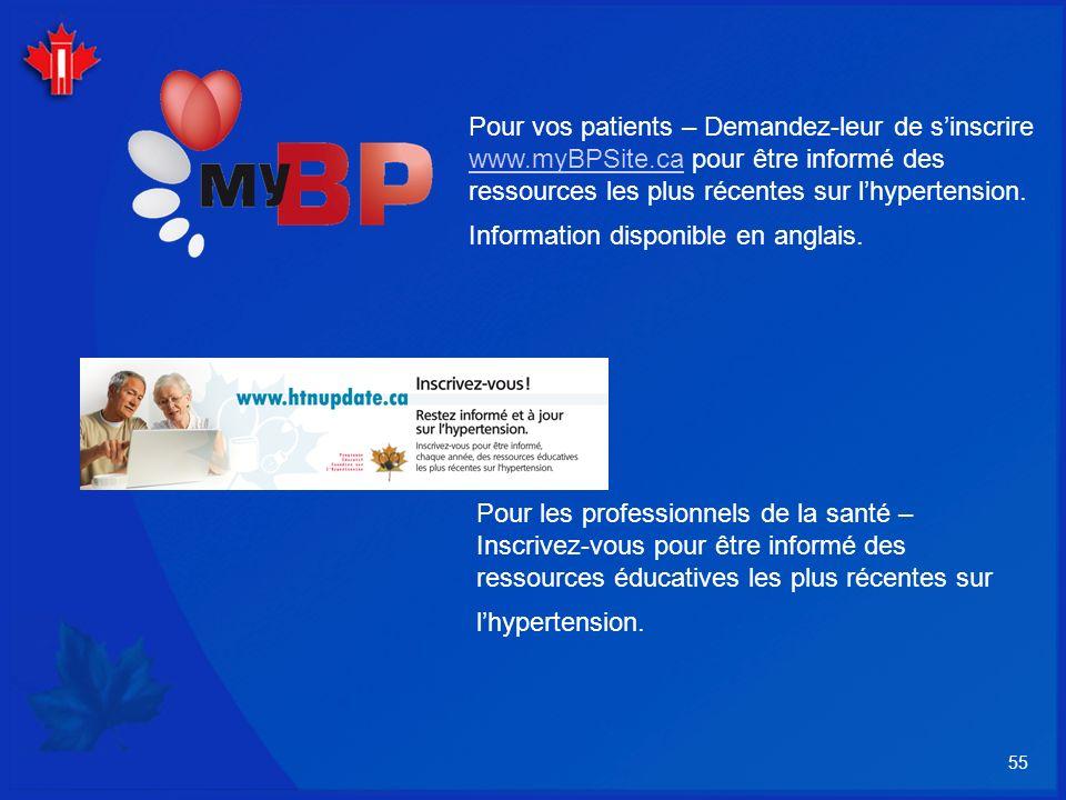 Pour vos patients – Demandez-leur de s'inscrire www. myBPSite