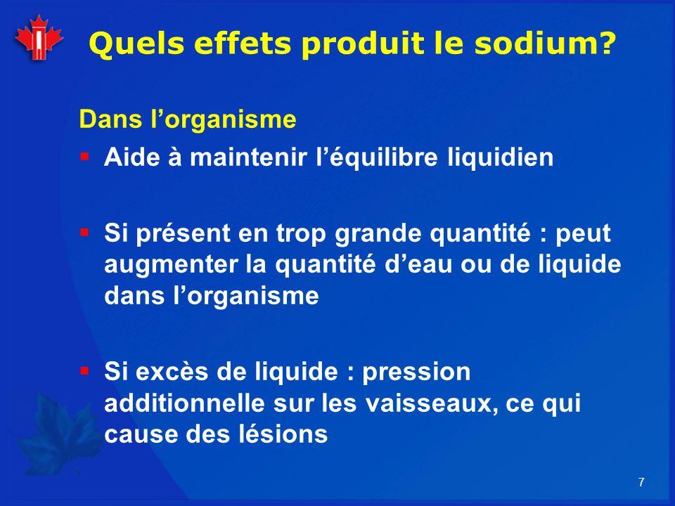 Quels effets produit le sodium