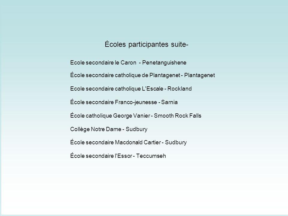 Écoles participantes suite-