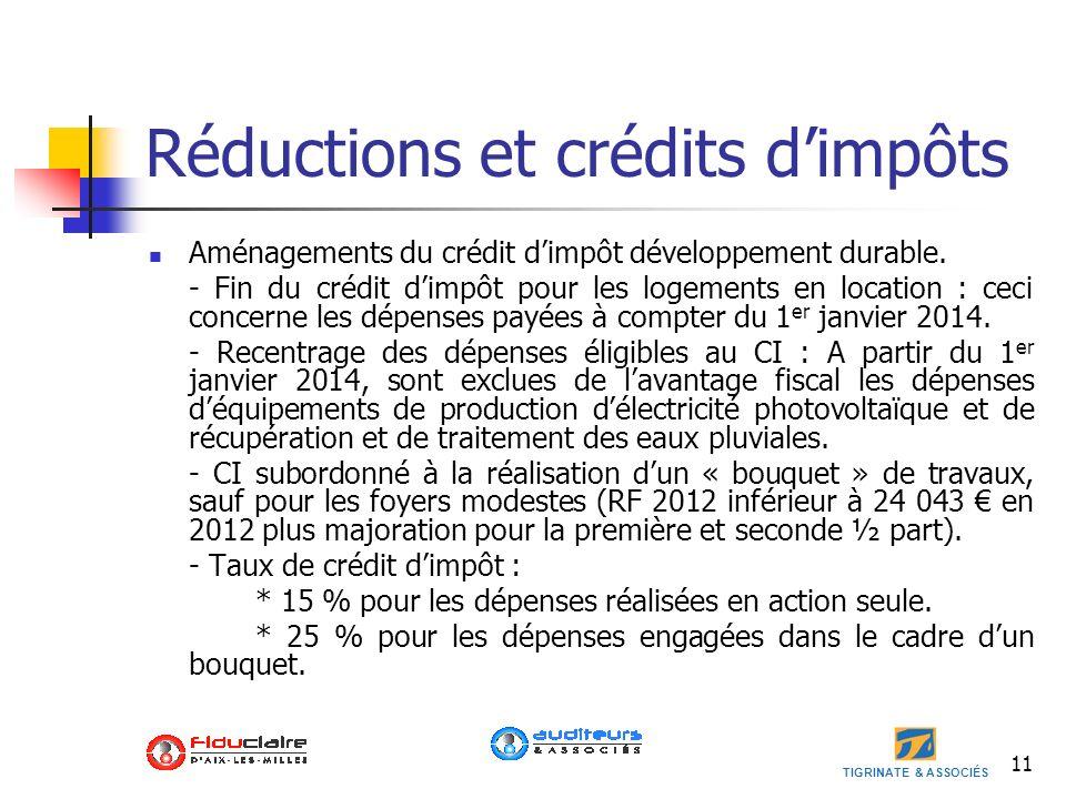 Réductions et crédits d'impôts