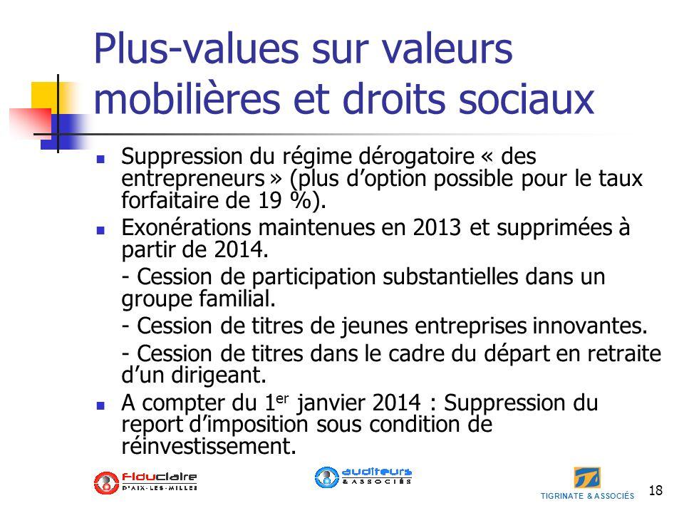 Plus-values sur valeurs mobilières et droits sociaux