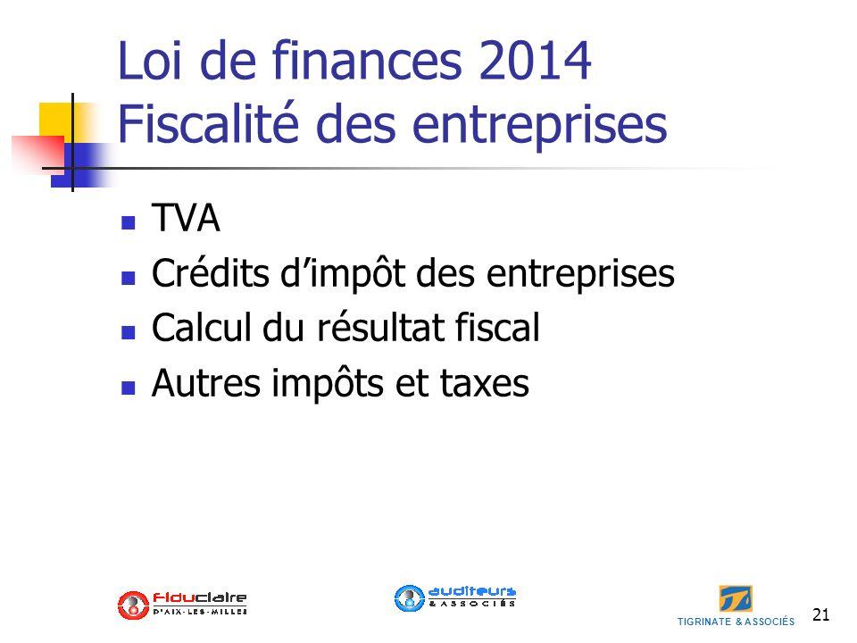 Loi de finances 2014 Fiscalité des entreprises