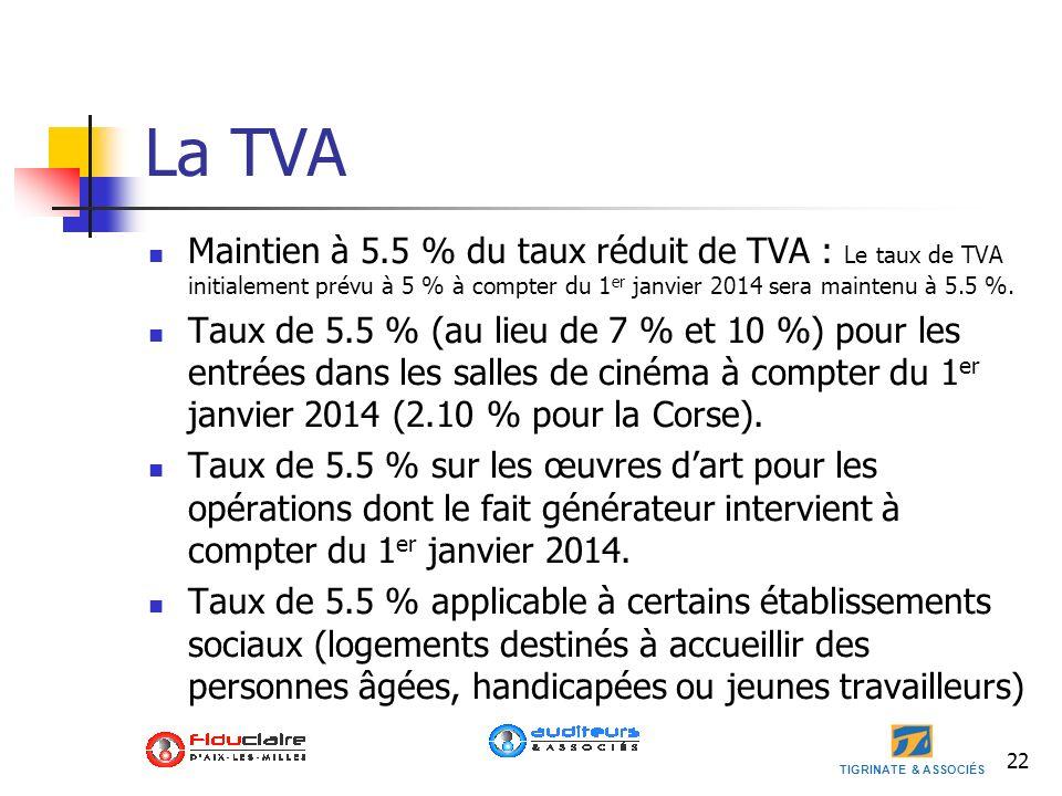 La TVA Maintien à 5.5 % du taux réduit de TVA : Le taux de TVA initialement prévu à 5 % à compter du 1er janvier 2014 sera maintenu à 5.5 %.