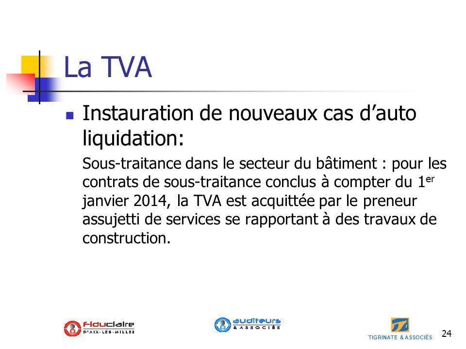 La TVA Instauration de nouveaux cas d'auto liquidation: