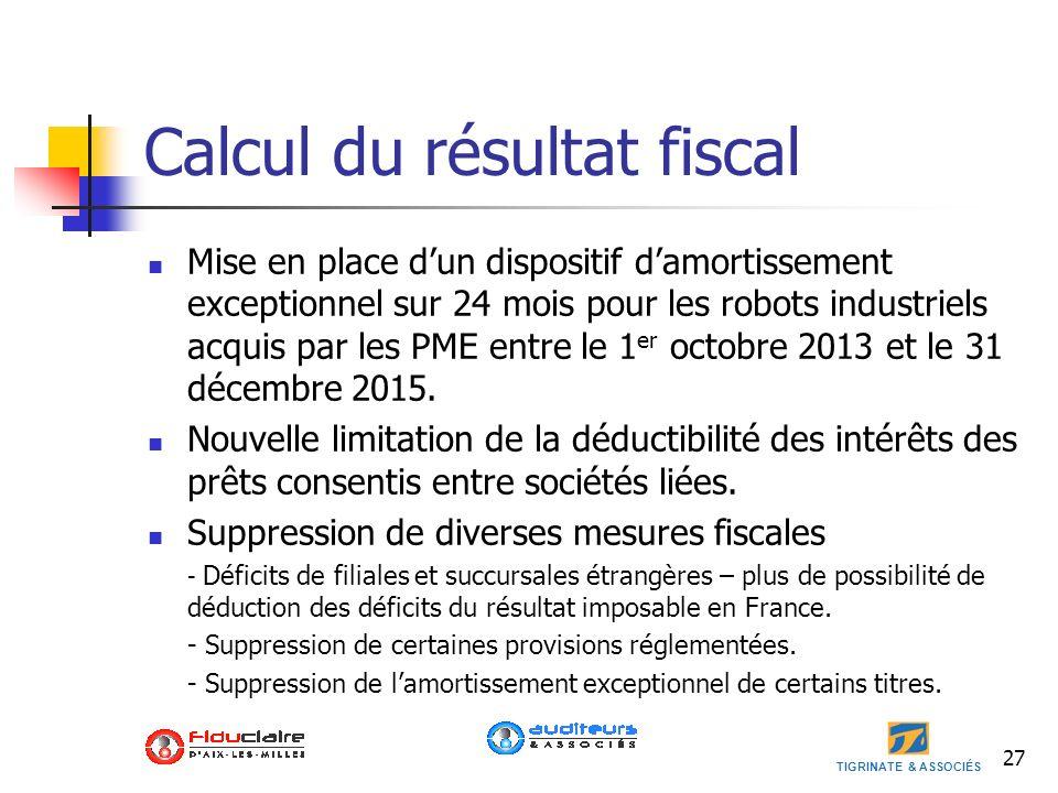 Calcul du résultat fiscal