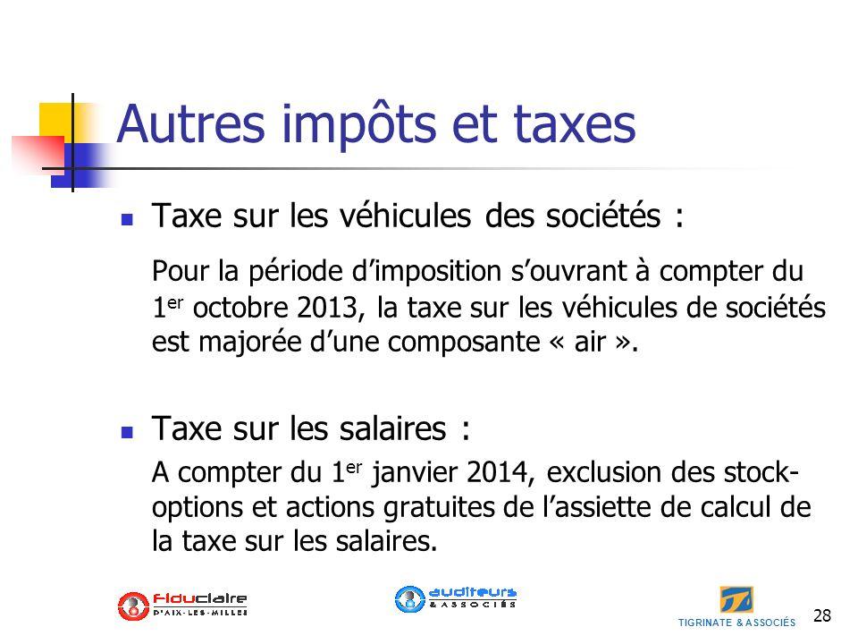 Autres impôts et taxes Taxe sur les véhicules des sociétés :