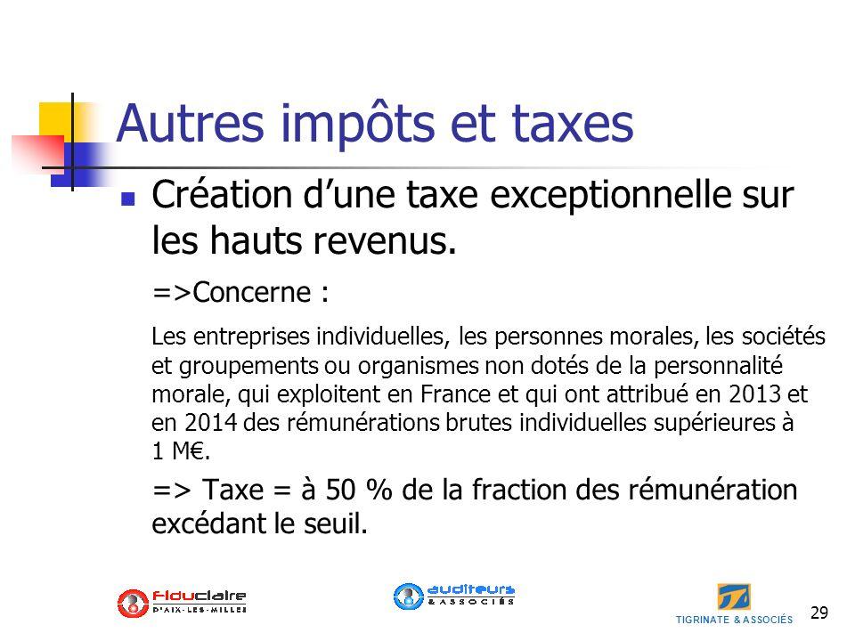 Autres impôts et taxes Création d'une taxe exceptionnelle sur les hauts revenus. =>Concerne :
