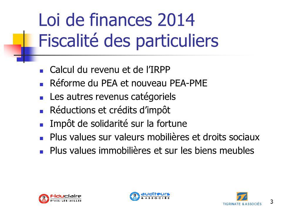 Loi de finances 2014 Fiscalité des particuliers