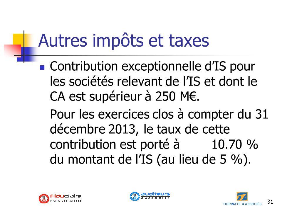 Autres impôts et taxes Contribution exceptionnelle d'IS pour les sociétés relevant de l'IS et dont le CA est supérieur à 250 M€.