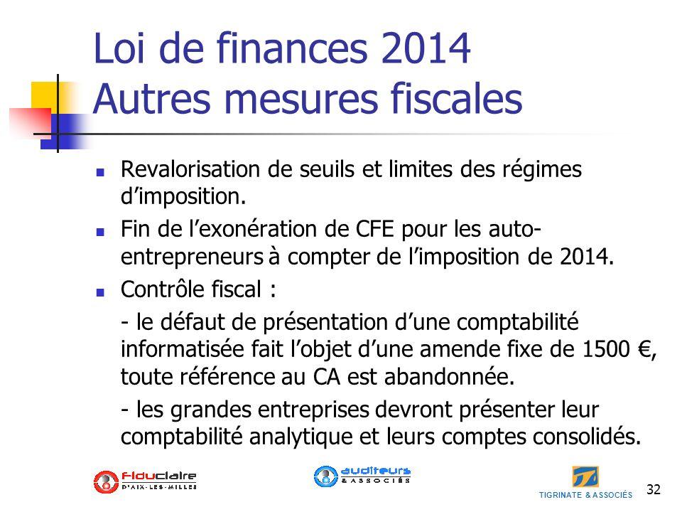 Loi de finances 2014 Autres mesures fiscales