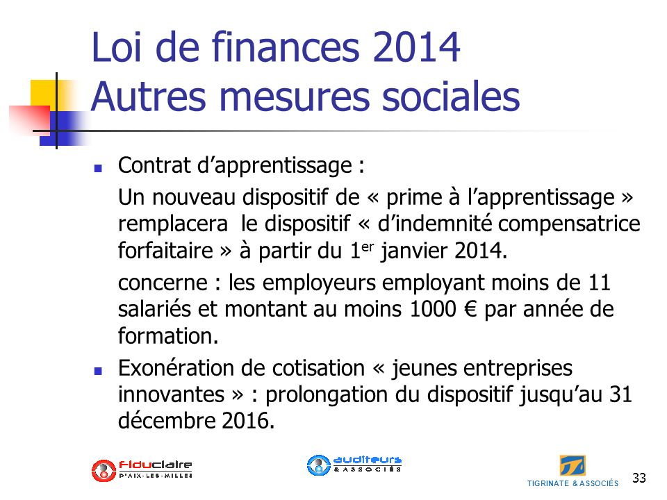 Loi de finances 2014 Autres mesures sociales