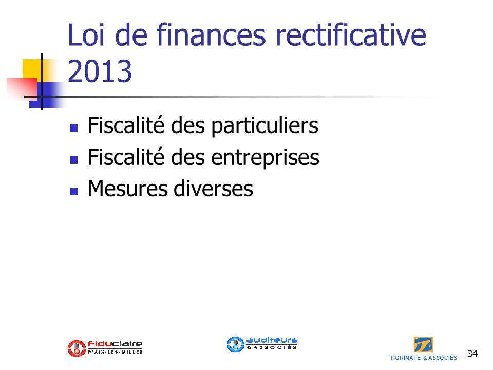 Loi de finances rectificative 2013