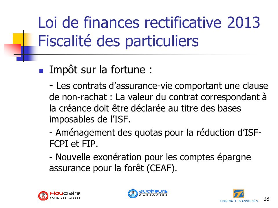 Loi de finances rectificative 2013 Fiscalité des particuliers