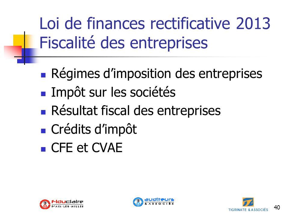 Loi de finances rectificative 2013 Fiscalité des entreprises
