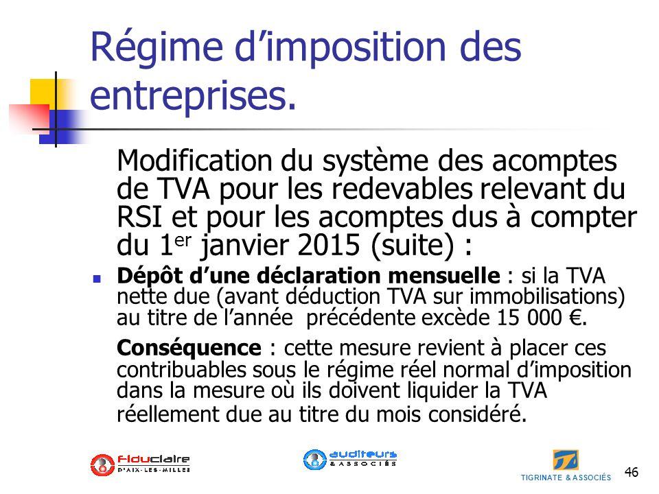 Régime d'imposition des entreprises.