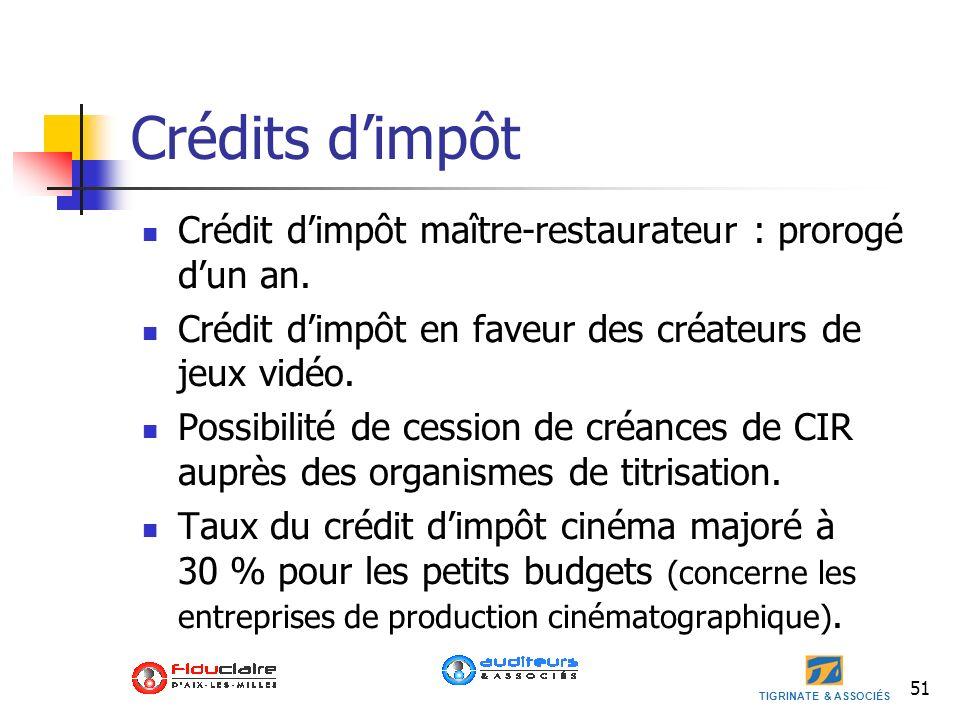 Crédits d'impôt Crédit d'impôt maître-restaurateur : prorogé d'un an.