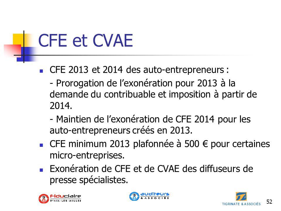 CFE et CVAE CFE 2013 et 2014 des auto-entrepreneurs :
